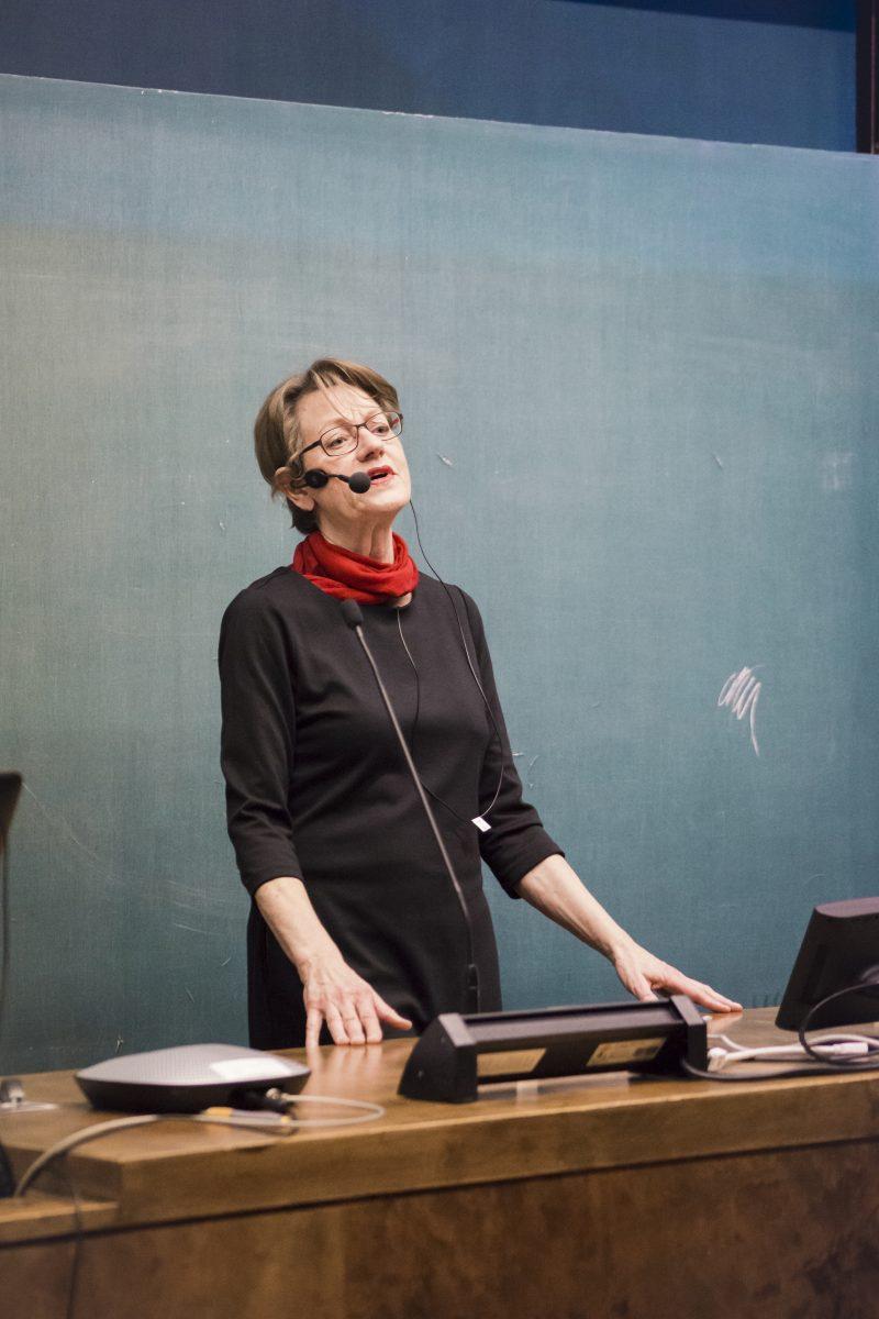 Gudrun Schyman på F-klubben. Bild: Frida Lönnroos
