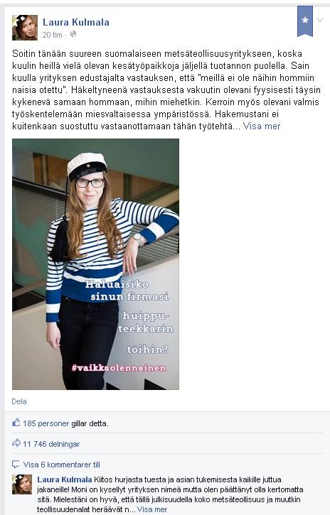 Skärmdump från Kulmalas Facebooksida.