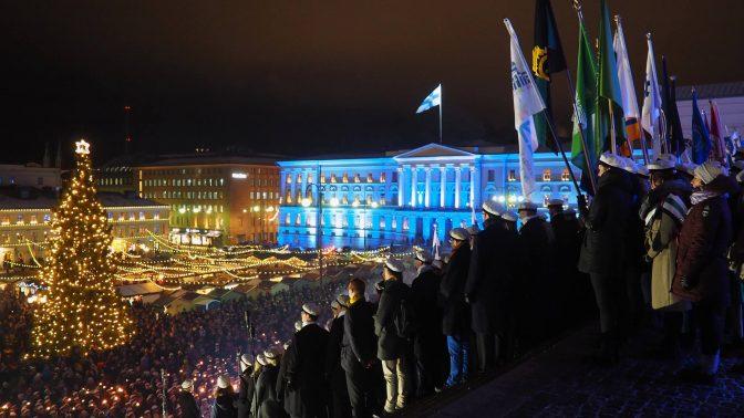 Studerande firar självständighets-dagen runt om i Helsingfors